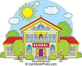 vector clip art illustration of a school building frontal rh canstockphoto com clipart school building pictures Drawing of a School Building