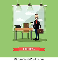 School principal concept vector illustration in flat style -...