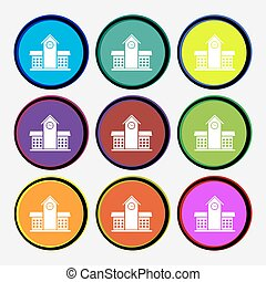 School Professional Icon sign. Nine multi colored round buttons. Vector