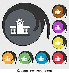School Professional Icon sign. Symbols on eight colored buttons. Vector