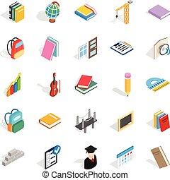 School program icons set, isometric style