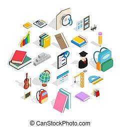 School program icons set, isometric style - School program...