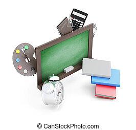 school, raad, render, beeld, accessoires, vrijstaand, achtergrond., groen wit, 3d