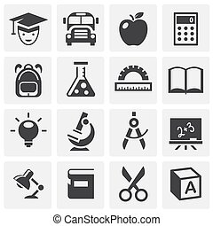 School related icons set on background for graphic and web design. Simple illustration. Internet concept symbol for website button or mobile app.