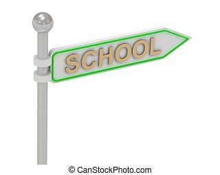 """school"", rendre, 3d, or, signe"