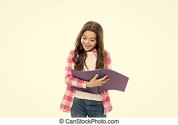 School routine. Educational process. Little girl with writing pad. Cute small school child hold open note pad white background copy space. Useful pad. School stationery concept. Writing making notes