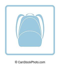 School rucksack icon. Blue frame design. Vector...
