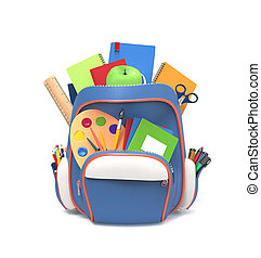 School rucksack with tools - Blue school backpack with pens ...
