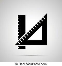 School ruler silhouette, simple black icon