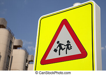 School Safety Sign in urban setting