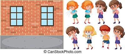 School scene and set of sick children on white background