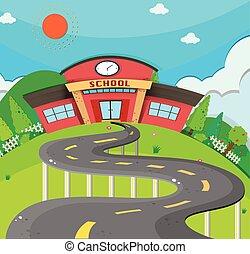 School scene with road to the school