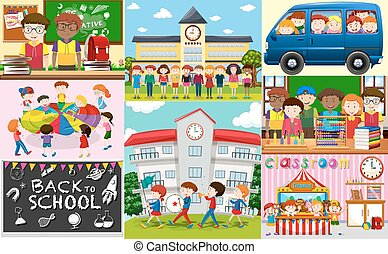 School scenes with students and classrooms