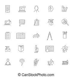 school, schets, iconen, set, studeren, stijl, huiswerk