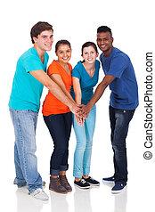 school, scholieren, samen, hoog, handen, vrolijke