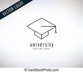 school, scholieren, symbool., afgestudeerd, opleiding, vector, ontwerp, logo, universiteit, icon., aandelen, hoedje, of, element.