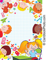 School. - School childhood. Place for your text. Vector...