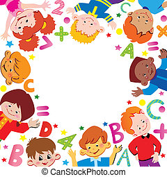 School. - School childhood. Place for your text. Vector art-...