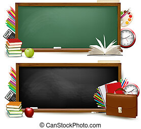 school, school., twee, back, supplies., vector., banieren