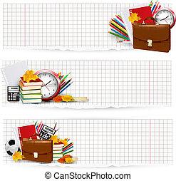 school, school., twee, back, supplies., vector., banieren