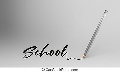 school, school word written with calligraphy with ...