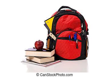 school, schooltas, overstromen, met, toebehoren