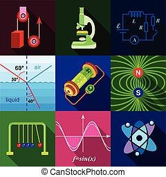 School science program icons set, flat style