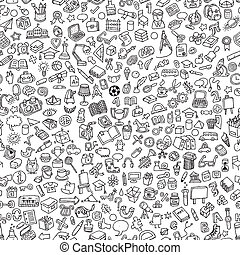 School seamless pattern in black and white