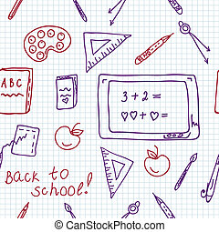 School seamless pattern in the notebook doodle