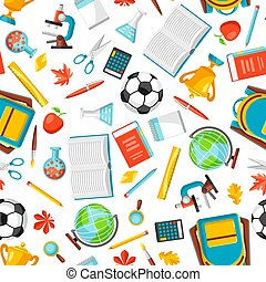 School seamless pattern with education items.