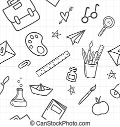 School seamless pattern with Hand drawn school supplies on white background. Vector illustration.