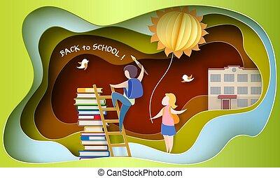 school, september, back, 1, boekjes , geitjes, kaart