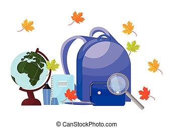 school, set, back, achtergrond., vector, toebehoren, gereedschap