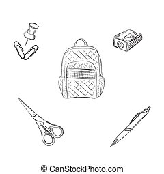 school set, backpack, pencil, pen