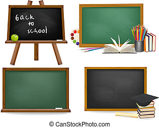 school, set, blackboards., ba, plank