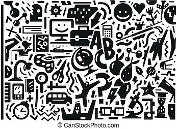 school, set, -, doodles, opleiding