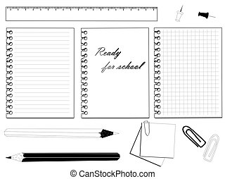School set with different stationery in black and white