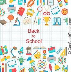 school, set, iconen, back, voorwerpen