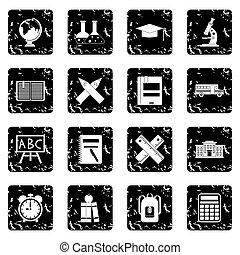 School set icons, grunge style