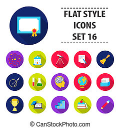 School set icons in flat style. Big collection school bitmap,raster symbol stock illustration
