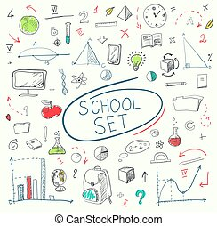 school, set, illustration., groot, blackboard., vector