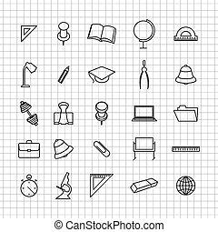 School set of icons, vector