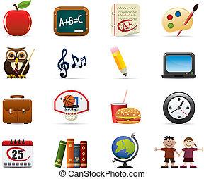 school, set, pictogram
