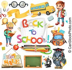 school, set, school., back, education., vector, 3d, pictogram