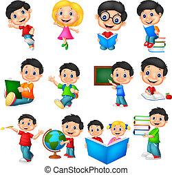 school, set, spotprent, verzameling, kinderen