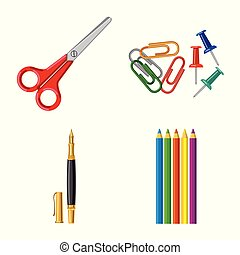 school, set, stock., werkkring bevoorrading, teken., voorwerp, vrijstaand, vector, pictogram