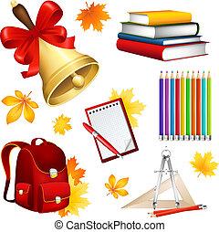 School set - Vector illustration of a school set from...