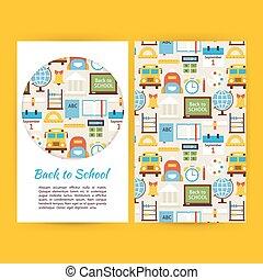 school, set, zakelijk, back, vector, mal, banieren