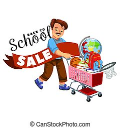 School shopping with dad poster with logo for banner