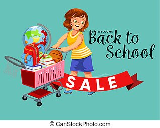 School shopping with mom poster with logo for banner